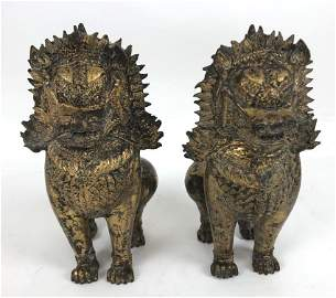 Pair of Asian gilt metal Foo Lions