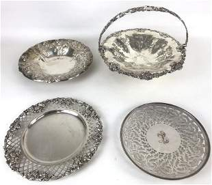 Group of 4 silver plates table articles