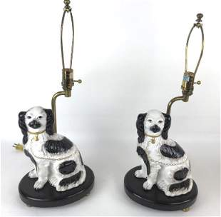 Pair of Staffordshire style dogs mounted as lamps