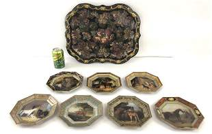 Floral Decorated Paper Mache Tray