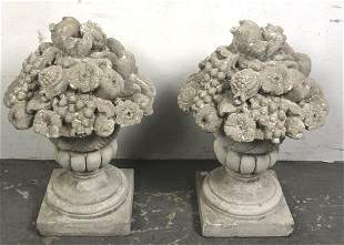 Pair of Portland Cement floral banquets