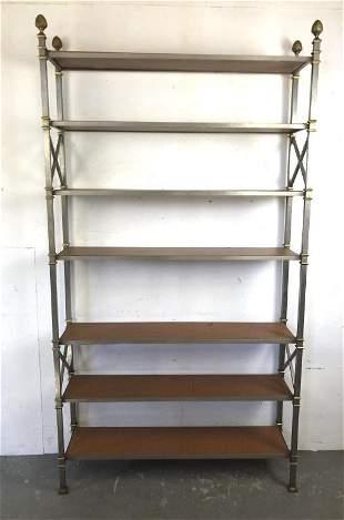 Neoclassical style metal open bookshelf