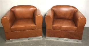 Pair of Ralph Lauren Canyon Leather Club Chairs