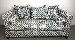 Blue and White Upholstered Sofa