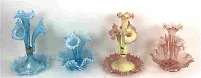 Group of 4 Fenton Style Flower Epergne Centerpiece