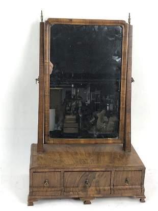 Queen Anne Style Walnut Shaving Mirror