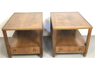 A Pair of Baker Fruitwood End Tables