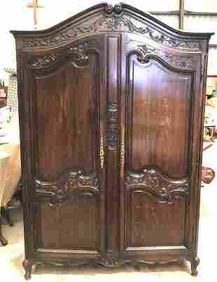 Louis XV Style Carved Oak Armoire