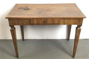 Italian Walnut One Drawer Side Table