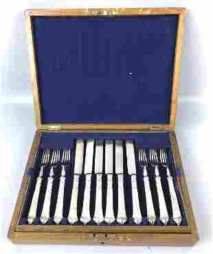 A Box Set of  English Silverplate Flatware