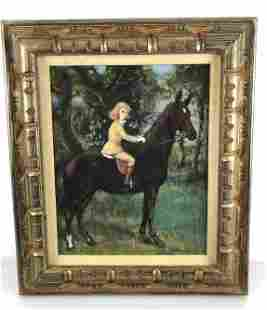 Portrait of Girl on Horse Oil on board, signed in