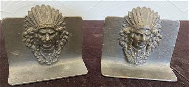 Vintage Indian Chief Brass Bookends ca 1930