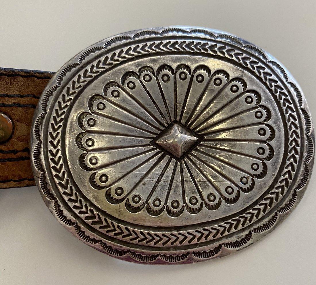 Native American Signed RABQ Sterling Navajo Belt Buckle /& Leather Belt ETC4307