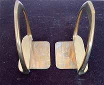 Solid Brass WWI Horse Stirrups Bookends