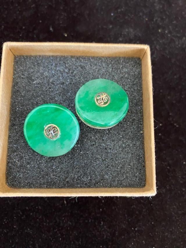 Chinese Jade and 14k gold  cuff links FREE SHIPPING.