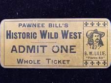 Pawnee Bill Wild West show ticket RARE 1895 original