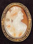 Vintage marked 10K gold Cameo pinpendant Victorian