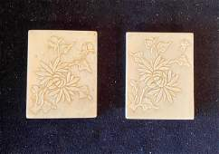 Lot of 2 Chinese Carved Bone Match Book Holders