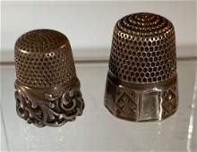 Lot of 2 Vintage Sterling Thimbles ca 1910