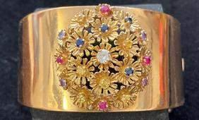 14k Gold Custom Made Bracelet Diamonds and Gems