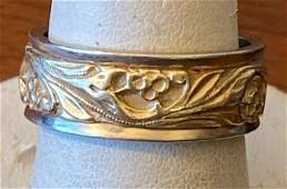 14K Yellow and White Gold Etched Band
