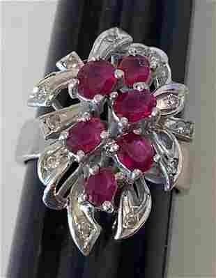 10K White Gold Ring with Garnet and Diamond Chips