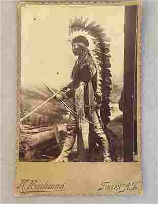 Native American Indian  Photo with Headdress 1885