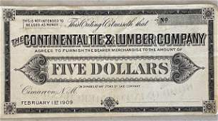 The Continental Tie & Lumber Co. 1909 Gift Certificate
