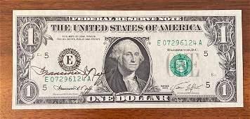 Signed Francine Neff US $1 Bill