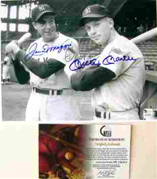 Mickey Mantle Joe Dimaggio 8x10 Autographed Photo w/COA
