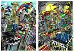 Charles Fazzino Superhero Suite 2pcs Batman & Superman