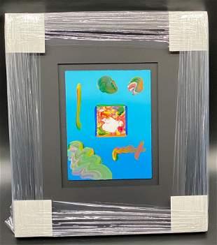 Peter Max Flower Lady Framed Original Mixed Media