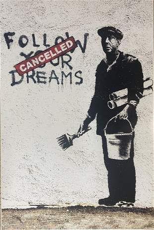 Banksy - Follow Your Dreams Framed Offset Lithograph