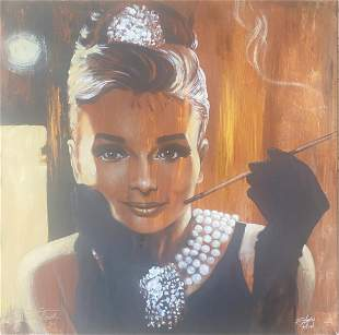 Stephen Fishwick Audrey Hepburn Stretched Giclee