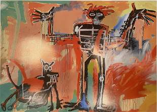 Jean Michel Basquiat Boy and Dog In a Johnnypump Offset