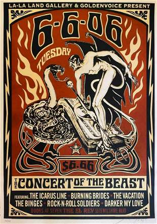 Shepard Fairey CONCERT OF THE BEAST Serigraph LE