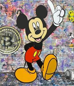 Jozza Bitcoin Mickey Stretched Mixed Media on Canvas