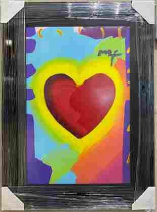 Peter Max Heart Large Framed Original Mixed Media