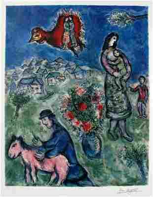 Marc Chagall Sur La Route de Village Lithograph