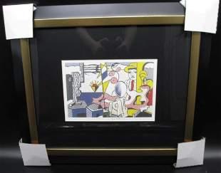 Roy Lichtenstein Figures with Sunset Framed Bookpage
