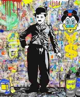 Jozza Charlie Chaplin Stretched Mixed Media Canvas