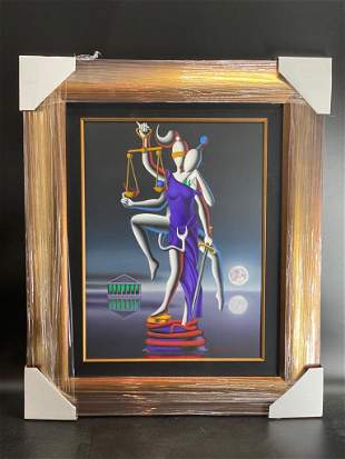 Mark Kostabi - Always Getting His Way Oil on Canvas