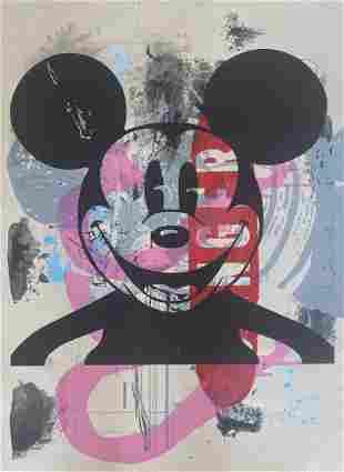 Mr. Brainwash Mickey Hand Signed Original Mix Media
