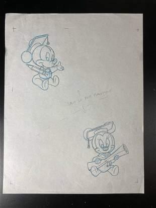 Disney - Student Mickey Original Production Drawing