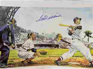 Autographed Ted Williams Drawing Lithograph
