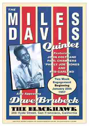 Miles Davis Blackhawk San Francisco FRAMED Offset Litho