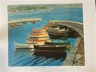 Sir Winston Churchill Study of Boats LE Lithograph