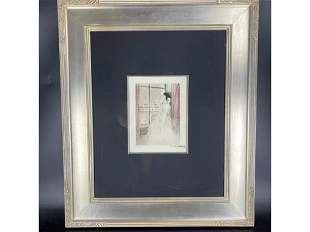 Louis Icart - Snowy Day Framed Copper Plate Etching
