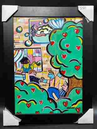 Rina Maimon Love Tree Original Acrylic on Canvas FRAMED