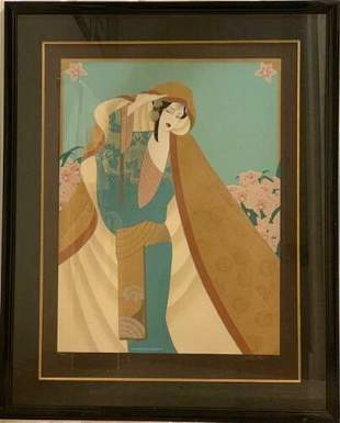 Lilian Shao - Among the Orchids Framed LE Seri on Silk